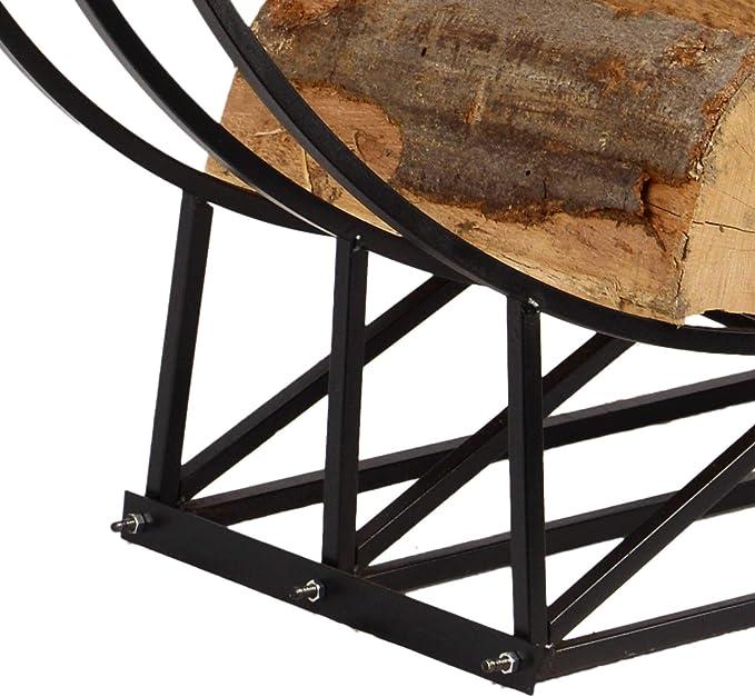 RM Design Kaminholzregal f/ür au/ßen und innen 55 cm breiter Kaminholzst/änder Feuerholz rund Metall schwarz