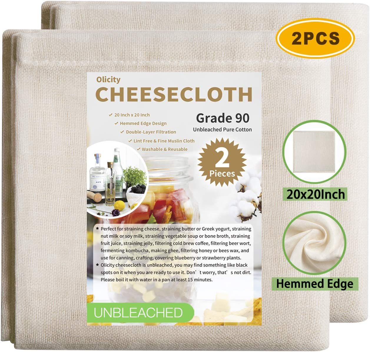 Olicity Cheesecloth, 20x20 Inch, Grade 90, 100% Unbleached Pure Cotton Muslin Cloth for Straining, Ultra Fine Reusable Hemmed Edge Cheese Cloth Filter Strainer for Cooking, Nut Milk Strain - 2 Pieces