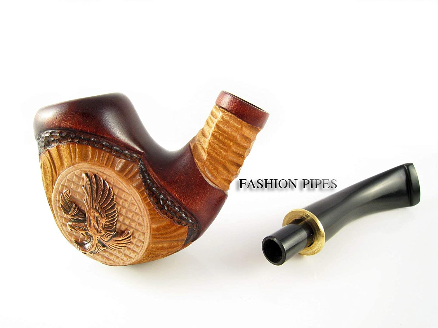 Pouch Gift! Fashion NEW metalAmerican Eagle Tobacco Smoking Pipe Carved Pear Root