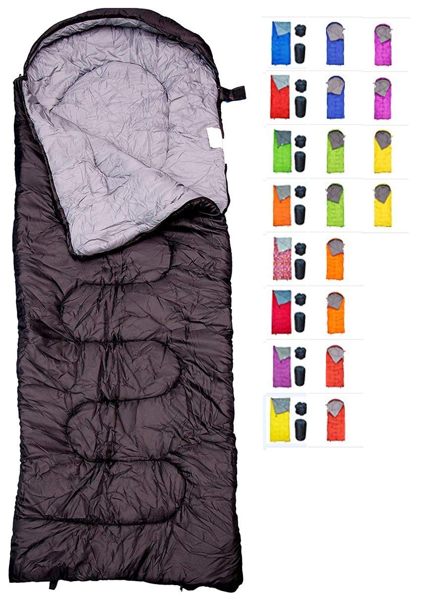 REVALCAMP Sleeping Bag for Cold Weather - 4 Season Envelope Shape Bags by Great for Kids, Teens & Adults. Warm and Lightweight - Perfect for Hiking, Backpacking & Camping (Black - Envelope Left Zip)