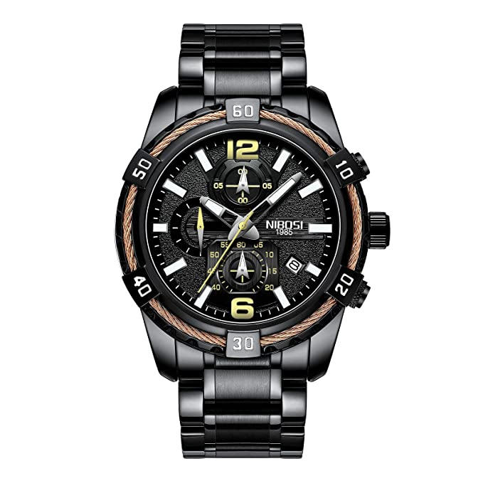 Amazon.com: NIBOSI Mens Chronograph Quartz Watch with Stainless Steel Strap Black Wristwatches for Men Calendar Date Watch: Watches