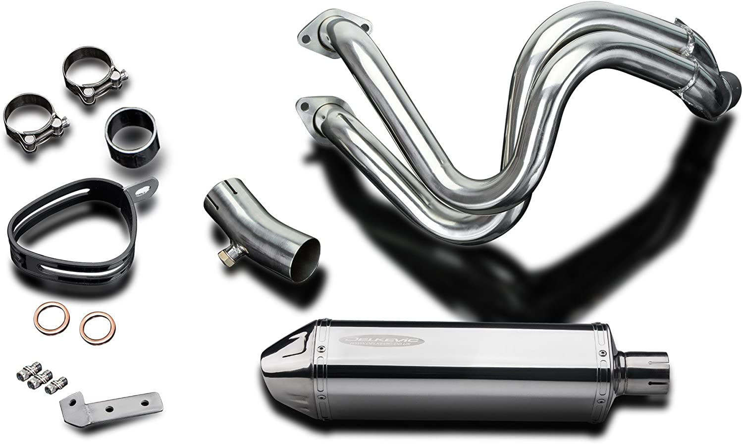 Delkevic Full 2-1 Exhaust compatible with Kawasaki Versys 650 KLE650 Stubby 13 Stainless Steel Tri-Oval Muffler Exhaust 15-20