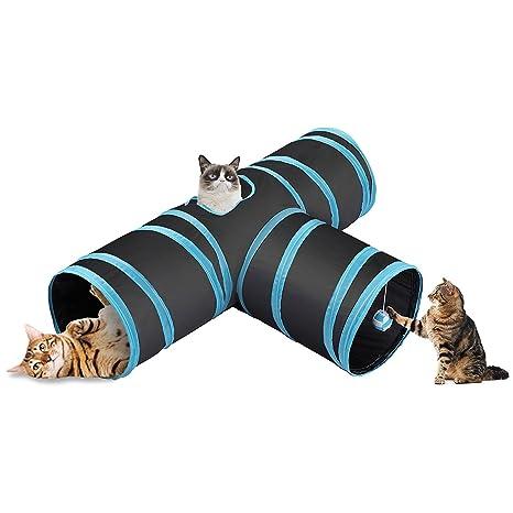 CO-Z Túnel Plegable para Gatos de 3 Vías con Bola Juguete para Gatos Conejos