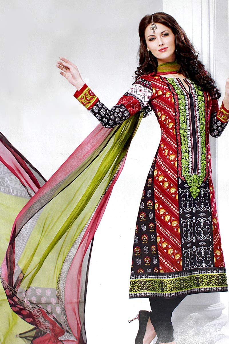 Designers Pakistani Styled, Cotton Embroidered Long Suit SMB-103 (M, Design-B)