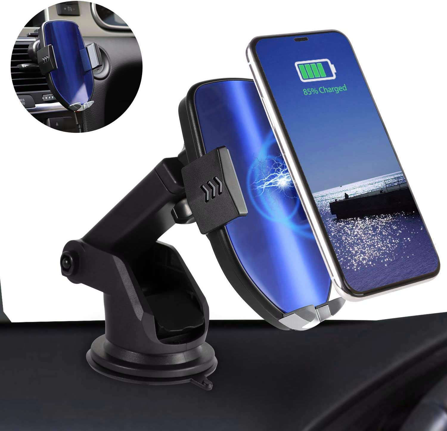 Qi Car Charger 10W//7.5W for Samsung Galaxy S10//S9//S8//S7//S6 Edge//Note and iPhone Xs Max//XR//XS//X//8 Plus Automatic Clamping Magnetic Phone Car Mount with Air Vent Phone Holder