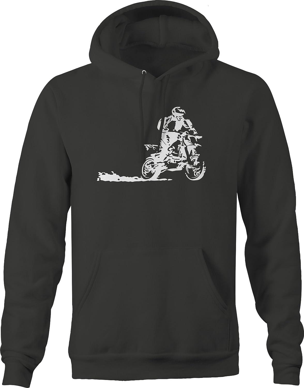 Bold Imprints Dirtbike Wheelie Racing Motocross Hooded Fleece Graphic Hoodie for Men