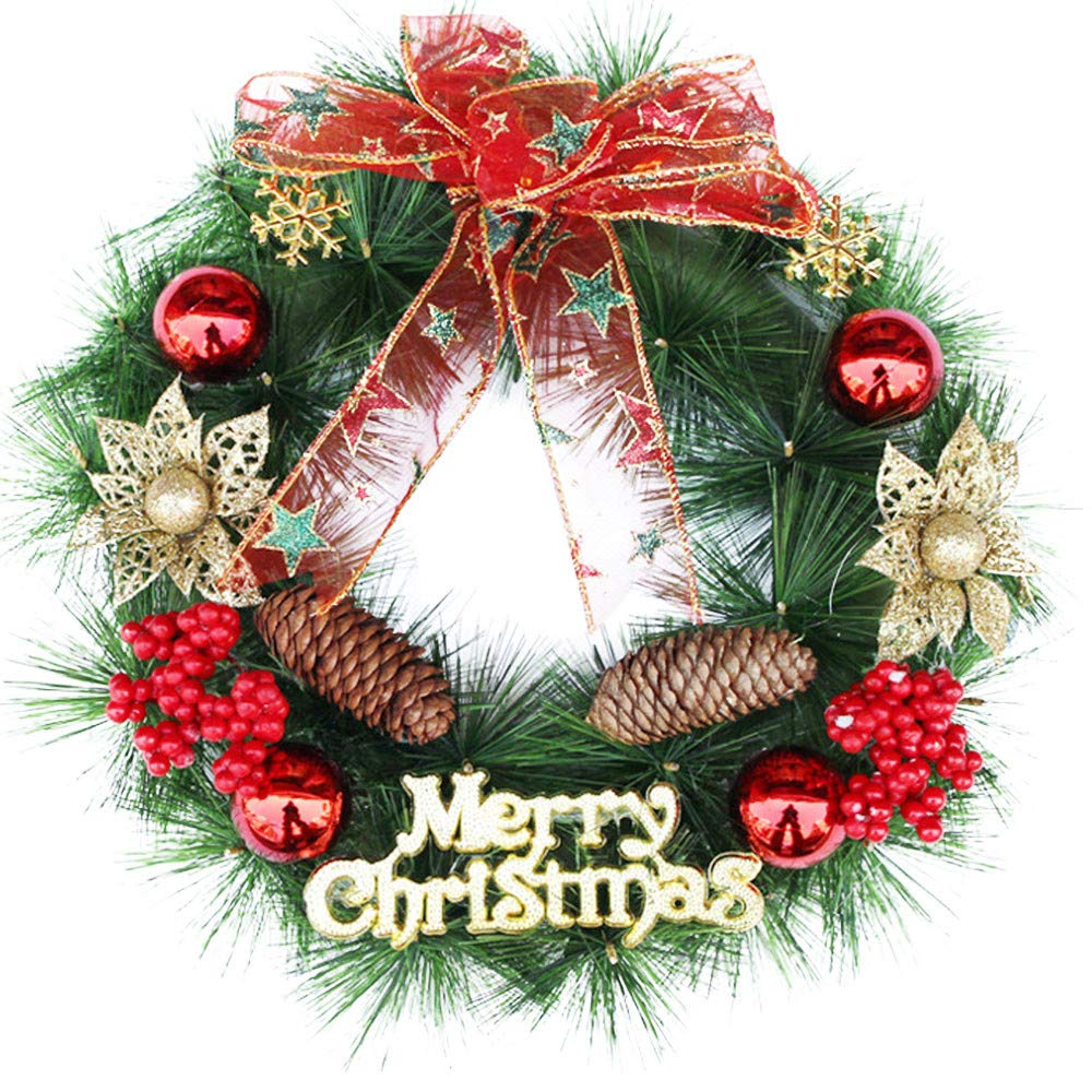 certainPL 12'' Christmas Front Door Wreath, Greenery Garland Ornament for Home Office Wall Wedding Decor