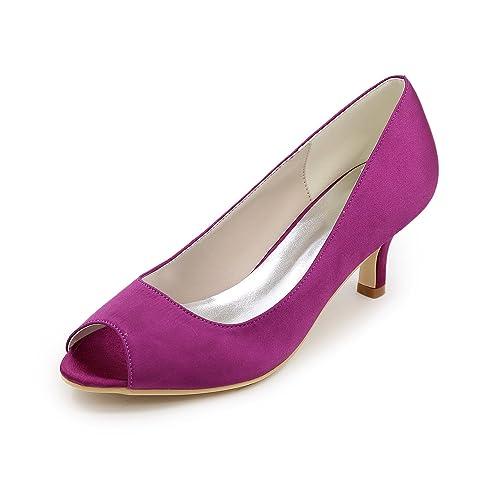 af2b5fbc07a Flower-Ager Y1195-01 Women Satin Prom Peep Toe Kitten Heels Dress Pumps Wedding  Evening Court Shoes