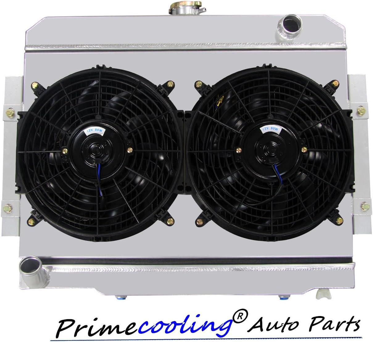 "Primecooling 52MM 3 Row Core Aluminum Radiator +2X12"" Fan w/Shroud for Jeep CJ5 CJ6 CJ7 1972-86, Cherokee J10 Commando 1973-75"