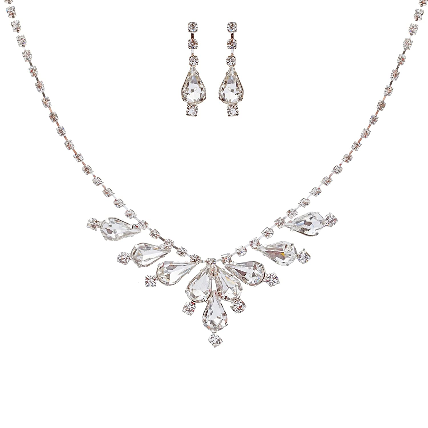 ACCESSORIESFOREVER Bridal Wedding Prom Jewelry Set Crystal Rhinestone Classy Stylish Design Necklace