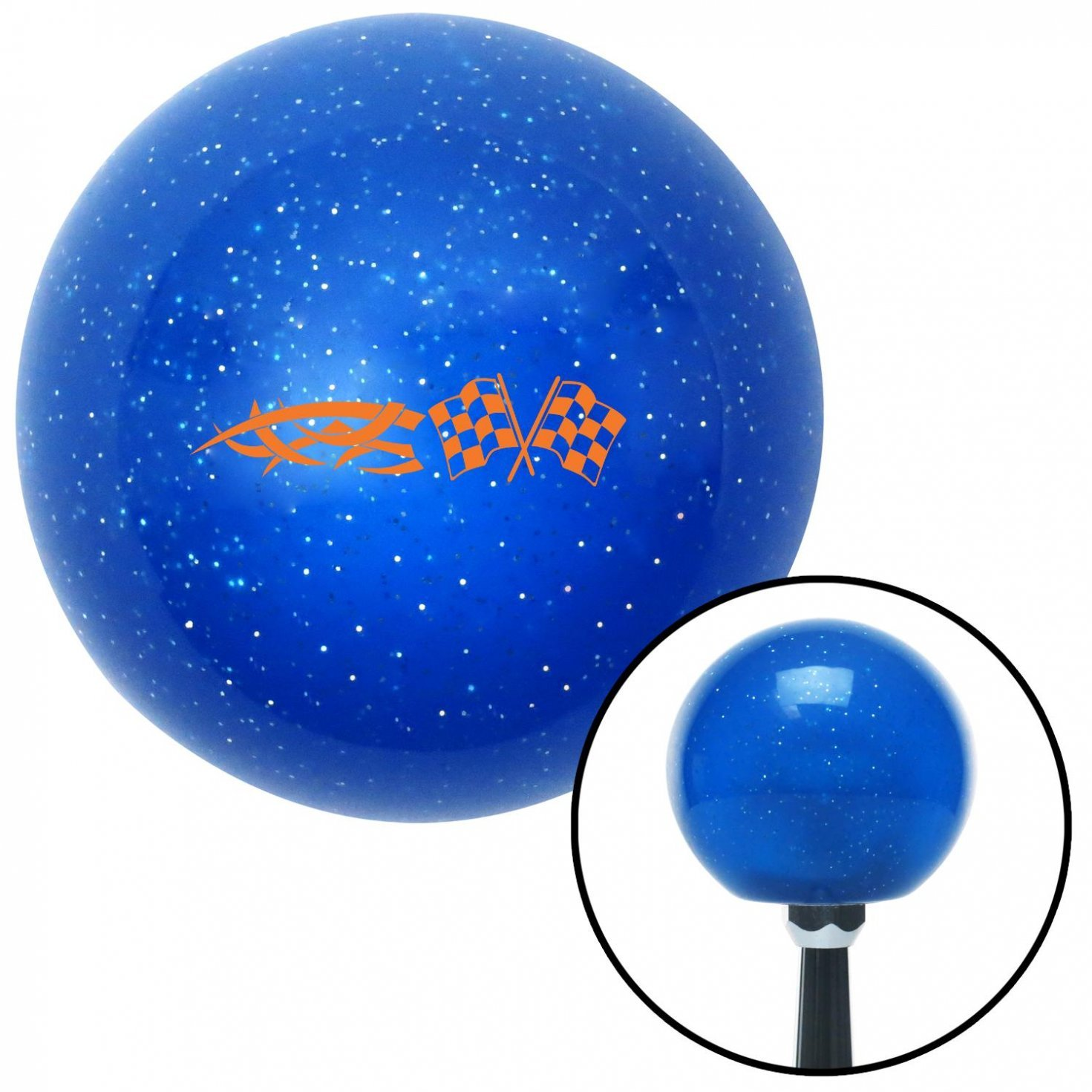 American Shifter 21595 Blue Metal Flake Shift Knob with 16mm x 1.5 Insert Orange Tribal Sign /& Racing Flags