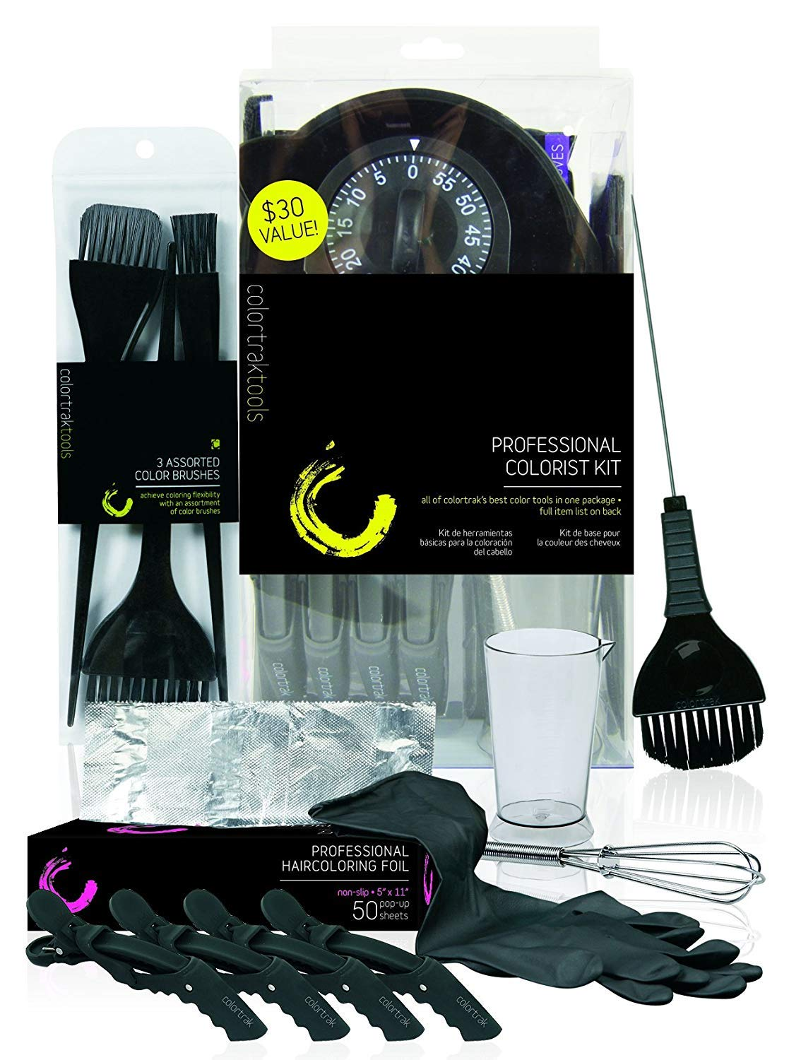 Colortrak Professional Hair Colorist Kit, 4-Pack Croc Clips, Color Beaker, Whisk, Duo Brush, 3-Pack of Brushes, Black Reusable Medium Gloves, Color Bowl, 50-Count Popup Hair Coloring Foil, Storage Box : Beauty
