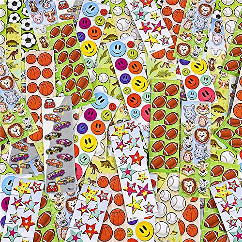 Mini Stickers Assortment - 500 Pack of Assorted Sheets - Rewards, Party Favors, Game Prizes Giveaways, Novelty Toys, Wall Decals, Creative Scrapbooks, Personalized Arts and Crafts ()