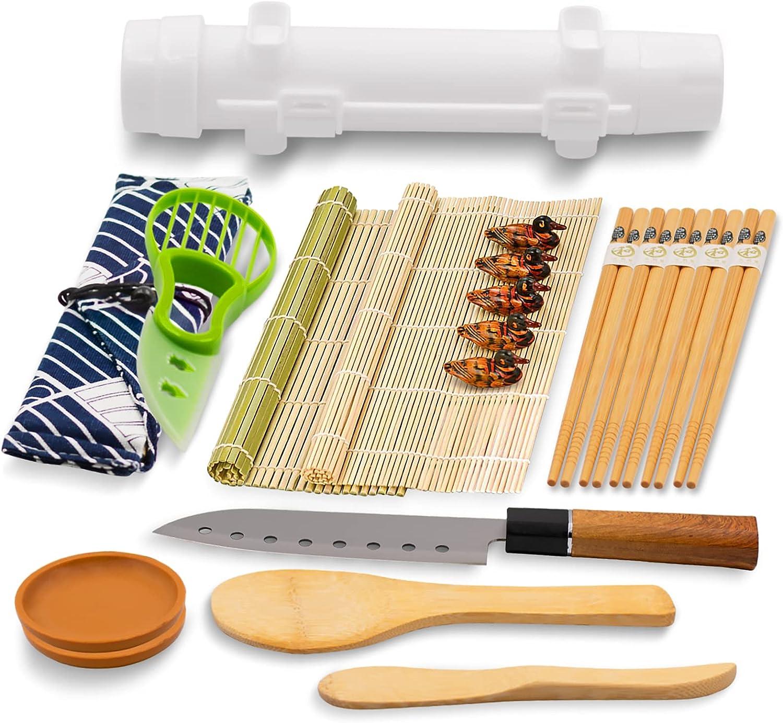 Sushi Making Kit, Sushi Curtains, Chopsticks, Chopstick Holders, Bazooka Mold, Round Plates, Green Butter Knife, Sushi knife, Cloth Bag, All-In-One Sushi Making Kit