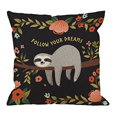 Sloth Throw Pillow Covers Decorative by HGOD Designs Follow Your Dreams Throw Pillow Cute Baby Sloth On The Tree Cotton Linen Square Pillow Case for Men/Women/18x18 inch Black Gray