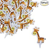 Shxstore Giraffe Paper Cake Toppers Woodland Animal Cupcake Toppers For Wedding Birthday Baby Shower Party Decor Supplies, 50 Counts