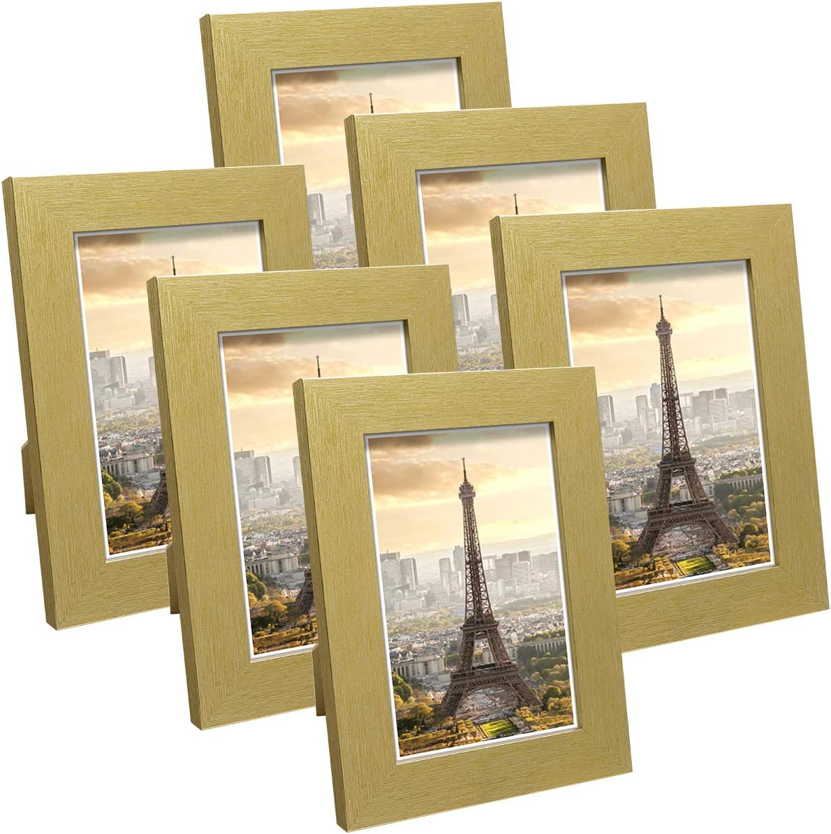 Q.Hou 4x6 Picture Frame Wood Pattern Gold Photo Frames Packs 4 with High Definition Glass for Tabletop or Wall Decor(QH-PF4X6-GD)