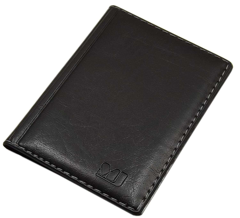 Elegantes Ausweis- und Kreditkartenetui mit Kontrastnaht 4 Fächer MJ-Design-Germany Made in EU in verschiedenen Farben und Designs (Design 1 / Braun)