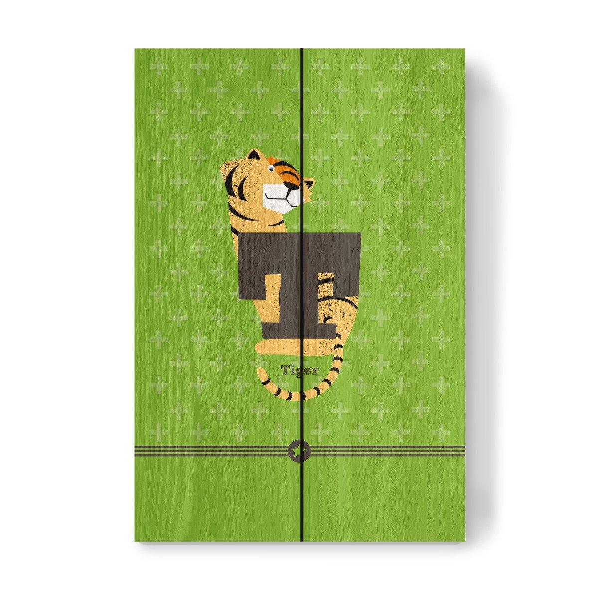 artboxONE Holzbild 30x20 cm F/ür Kinder T wie Tiger von K/ünstler Pia Kolle