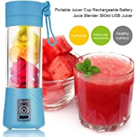 Buyerzone Stainless Steel Portable and Rechargeable Juicer Blender 380ml Bottle with USB Cable (Multi-Colour)