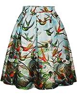 ZIOOER Women's Elastic Waistband Digital Print Flared Pleated Casual Skirt