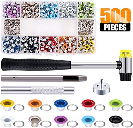 Jerbro 500 Sets Grommets Eyelets s with Installation Tools 3//16 Inch Colorful Grommets Kit