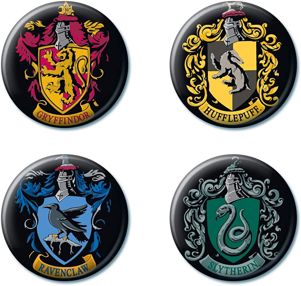 """Ata-Boy Harry Potter Houses of Hogwarts Crests Set of 4 1.25"""" Collectible Buttons: Clothing"""