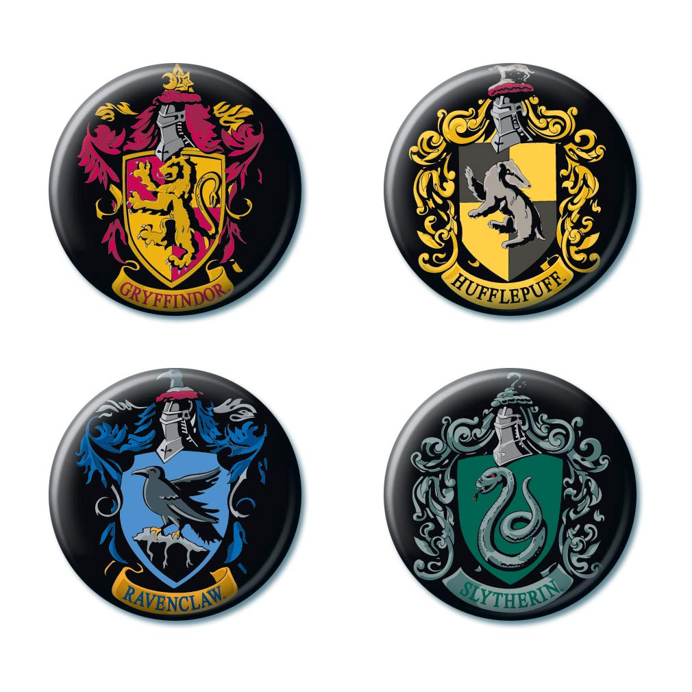 """Ata-Boy Harry Potter Crests Set of 4 1.25"""" Collectible Buttons"""