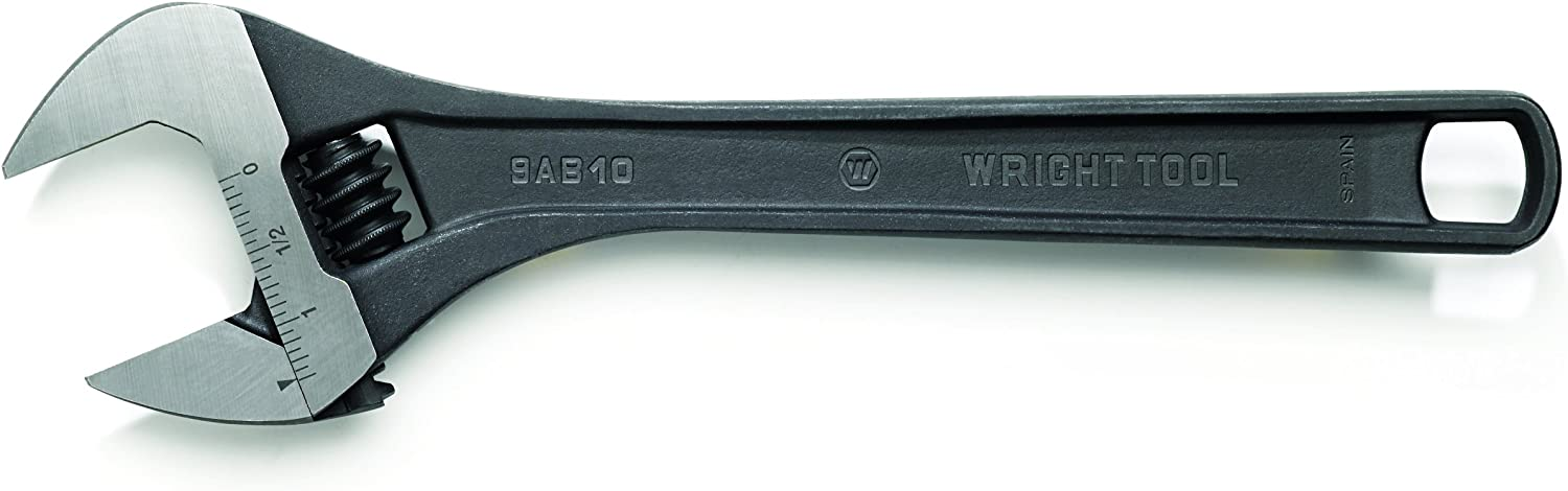 Wright Tool 9AB08 8-Inch Adjustable Wrench with Max Capacity 1-1//8 Max Capacity Black