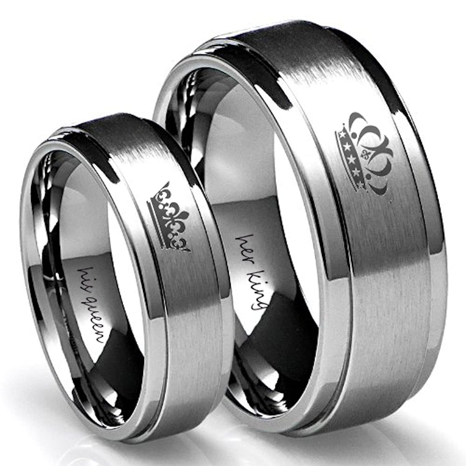 Amazon.com: King and Queen Silver Couples Ring Set (Women\'s Queen ...