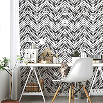 Horllm 17 71 In X 19 66ft Modern Circle Oval Stripe Peel And Stick Wallpaper Removable Self Adhesive Black White Wallpaper Decorative Wall Covering Vinyl Wallpaper Amazon Co Uk Diy Tools