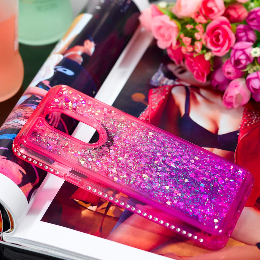 LG Stylo 4 Case, Clear Liquid Glitter Case Color-Gradient Bling Shiny Glitter Sparkle Flowing Moving Hearts Diamonds Frame Ultral Slim Shock Absorbtion TPU Bumper Shell Cover for LG Q Stylus - Pink by KASOS (Image #6)