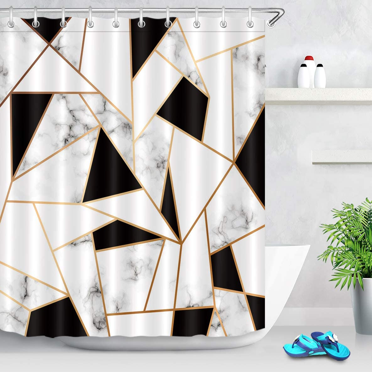 LB Abstract Geometric Marble Shower Curtain Black and White Cracked Pattern Marble Texture Bathroom Curtain Set 72x72 Inch Waterproof Fabric Bathtub Decor with 12 Hooks