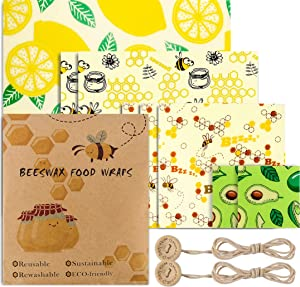 Beeswax Wraps Set of 8 Eco Friendly Washable Reusable Beeswax Food Wraps, Cheese and Sandwich Wrappers, Bowl Covers -Alternative to Cling Film (set of 8)