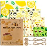 Beeswax Wraps Set of 8 Eco Friendly Washable Reusable Beeswax Food Wraps, Cheese and Sandwich Wrappers, Bowl Covers -Alternat