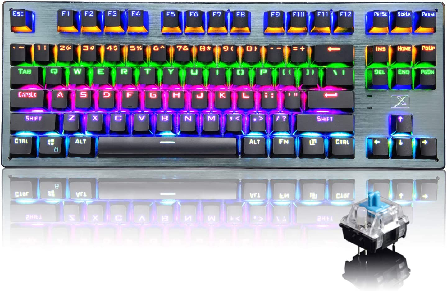 Bluetooth Mechanical Gaming Keyboard with Multi Backlit 87 Anti-Ghosting Key Ergonomic Metal Plate Wired/Wireless USB Receiver Rechargeable 3300mAh Battery for PC Mac Gamer (Black Rainbow/Blue Switch)