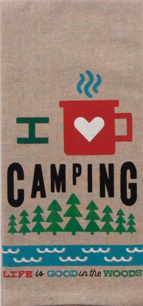 Just 4 U Gifts J4U Happy Camper Kitchen Set - I Heart Camping Happy Camper Towels and Feathers Scented Sachet with Gift Tag by Just 4 U Gifts (Image #3)