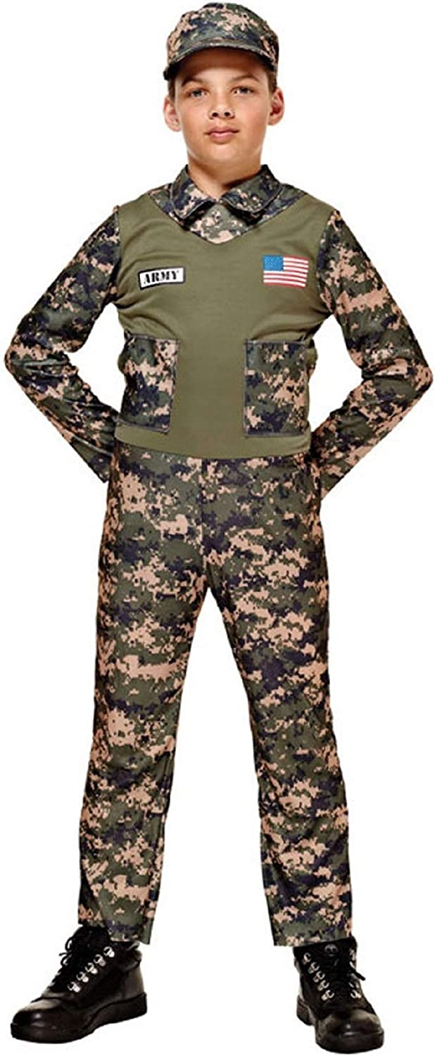 CHILD ARMY SOLIDER WAR DRESS UP OUTFIT AGE 4-12 boys kids fancy dress costume