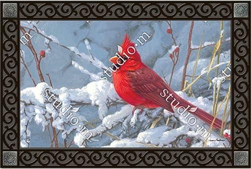 Cardinal in Snow Winter Doormat Birds Seasonal Indoor Outdoor 18 x 30 MatMates
