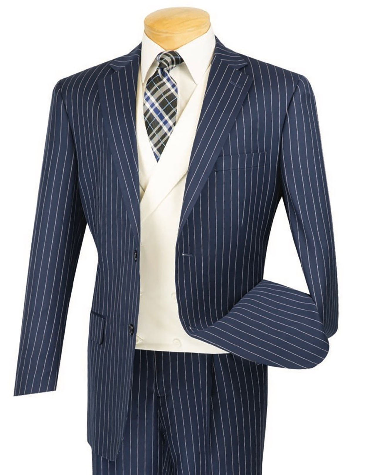 VINCI Men's Gangster Pinstriped 3pc 2 Button Classic-Fit Suit w/White Double Breasted Vest New [Color Navy Blue | Size: 40 Regular/34 Waist]