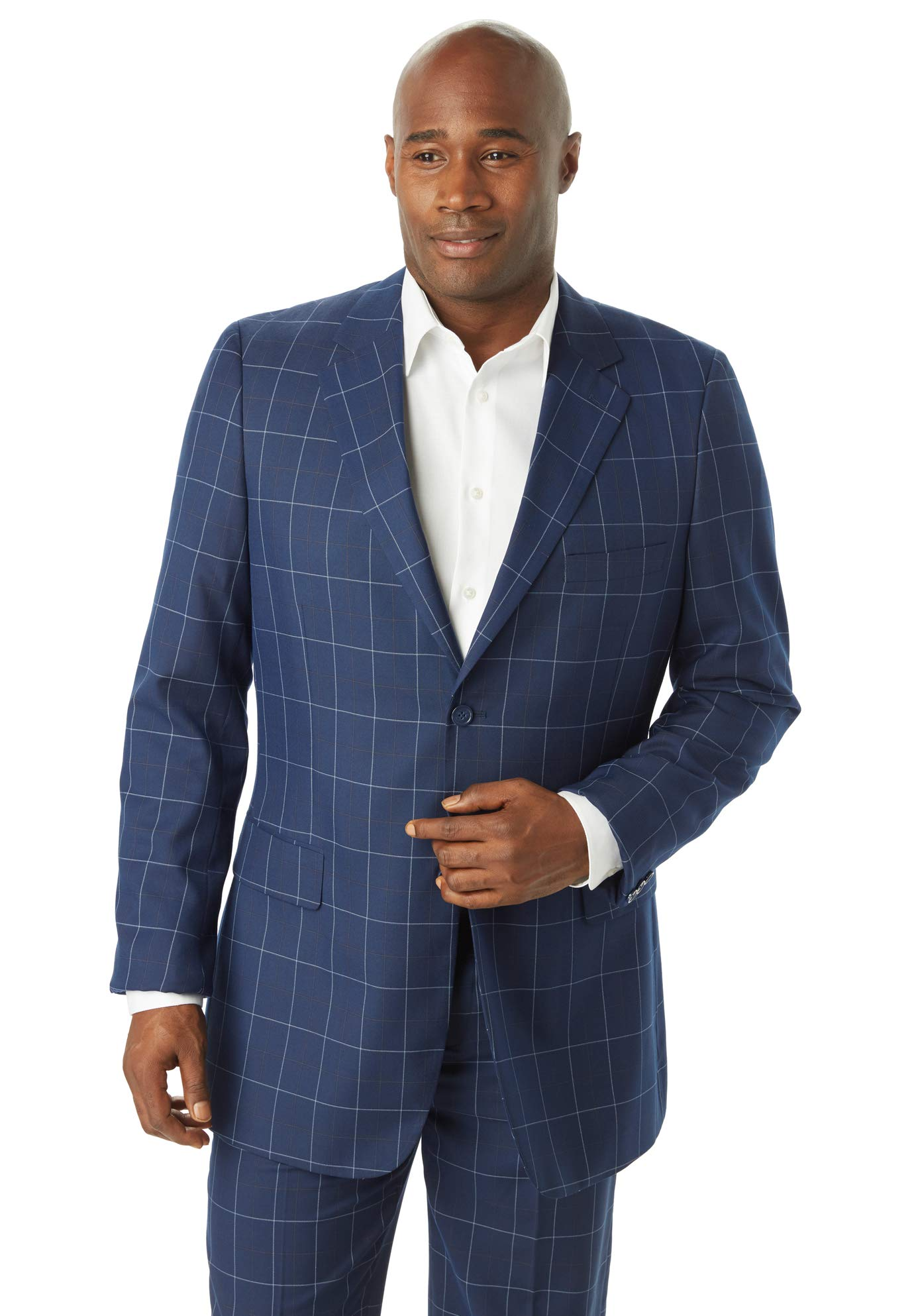 Kingsize Signature Collection Men's Big & Tall Kingsize Signature Collection Easy Movement Two-Button Jacket, Navy Check Big-70 by KS Signature