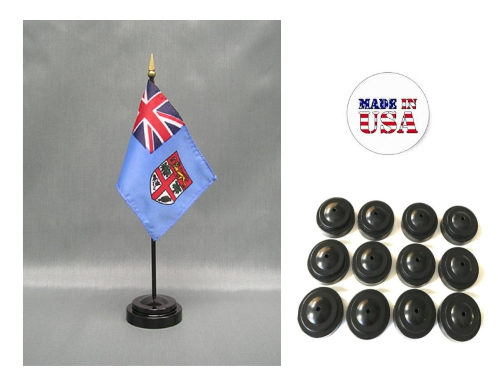 Made in the USA!! Box of 12 Fiji 4''x6'' Miniature Desk & Table Flags Includes 12 Flag Stands & 12 Fijian Small Mini Stick Flags
