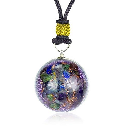 New Orgone Pendant for Ultimate Luck and Money | Green Jade | Amethyst |  Rose Quartz | Blue Kynite | Red Garnet | Lapis Lazuli Orgonite Necklace for