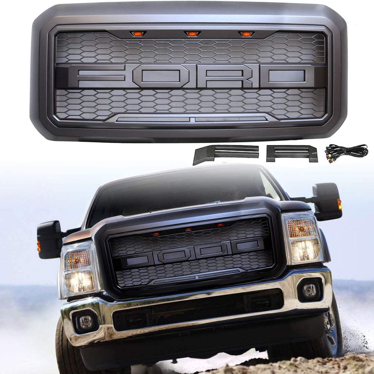 black Front Grill Grille Fit for 2011 2012 2013 2014 2015 2016 F-250 Ford F250 F350 F450 F550 With 3 Amber Lights /& Harness /& Letters Raptor Style Grill
