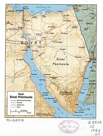 Middle East Map Sinai Peninsula.Amazon Com 1988 Map Of Egypt Sinai Peninsula Egypt Sinai