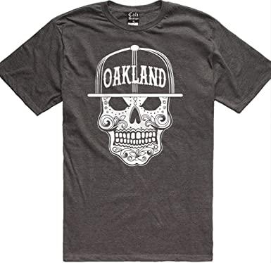 91ff996f3 CaliDesign Men's Charcoal Grey Oakland City Sugar Skull Mexican The Town T  Shirt, M -