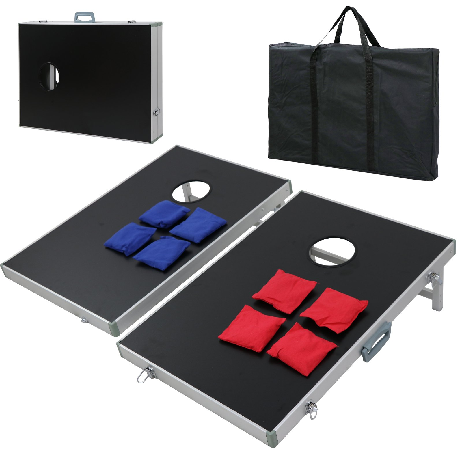 ZENY Portable 3' x 2' Cornhole Game Set, Folding Aluminum Frame MDF Cornhole Board w/ 8 Weighted Bean Bags and Carrying Case for Portable and Lightweight for Party Backyard BBQ Beach Travel by ZENY
