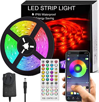 Bluetooth LED Strip Lights Music Sync, Waterproof 5m 5050 RGB 150 LEDs Light Strip with APP and Remote Control for Bedroom (SAA Certified Power Supply)