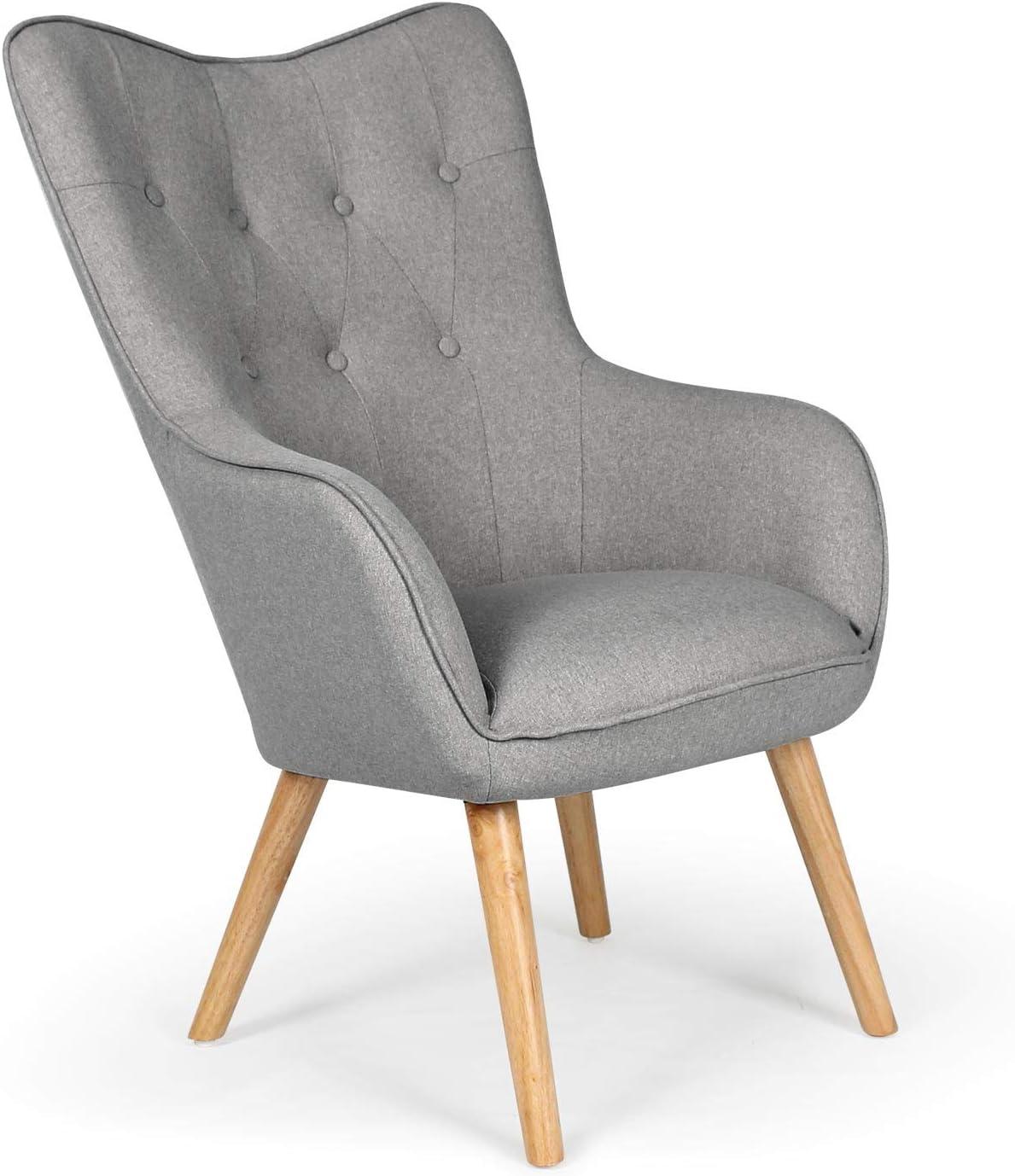 des accoudoirs rembour/és et des pieds en Bois massif H/être Grand Fauteuil au style scandinave avec un rev/êtement en tissu gris