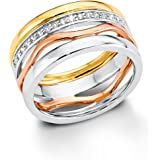 S.Oliver Damen-Ring Silber vergoldet teilvergoldet Zirkonia weiß 5087
